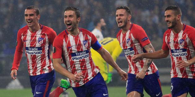 L'Atlético de Madrid célébrant son deuxième but face à l'OM lors de la finale de l'Europa League à Lyon le 16 mai 2018.