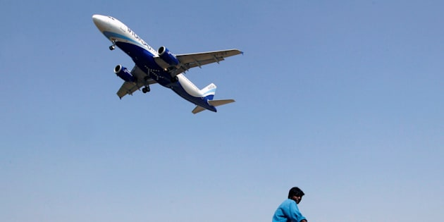 An IndiGo Airlines aircraft prepares to land.