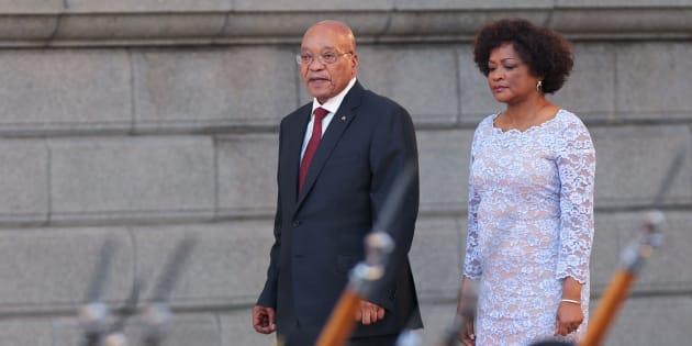 South African President Jacob Zuma (L) and National Assembly speaker Baleka Mbete.