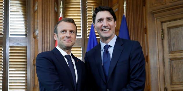 Emmanuel Macron et Justin Trudeau à Ottawa le 6 juin 2018.