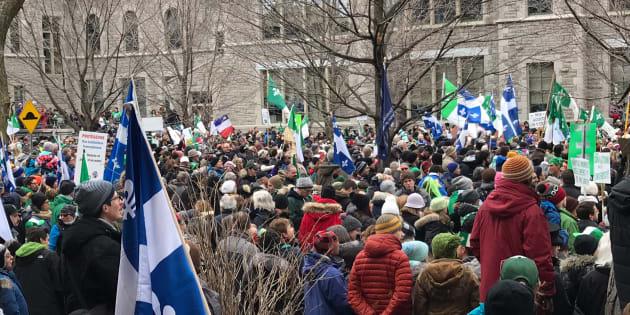 Plusieurs milliers de personnes arborant chacun leur drapeau ou symbole se sont réunies à Ottawa le 1er décembre 2018 pour manifester leur solidarité et opposition aux décisions du gouvernement ontarien. D'autres manifestations ont eu lieu à travers le Canada le même jour.