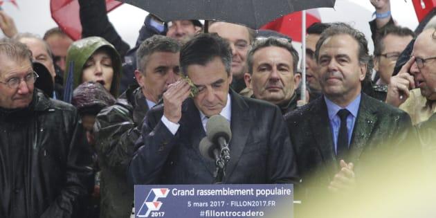 François Fillon lors du rassemblement du Trocadéro à Paris, le 5 mars 2017.