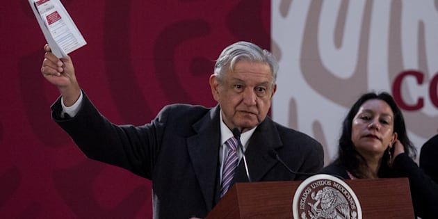 Andrés Manuel López Obrador, presidente de México, durante su conferencia matutina con la prensa.