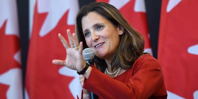 Foreign Affairs Minister Chrystia Freeland discusses modernizing NAFTA at a public forum at the University of Ottawa in Ottawa on Aug. 14, 2017.