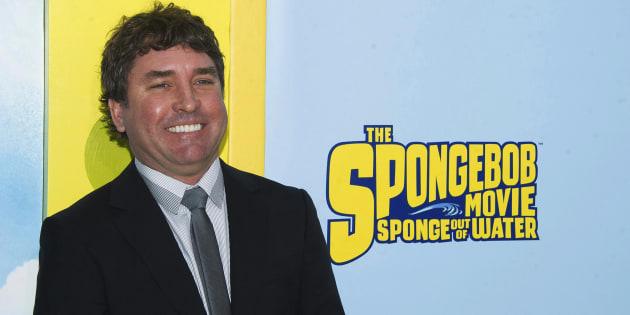 """Stephen Hillenburg assistant à la première mondiale de """"Bob L'Éponge"""" à New York en 2015."""
