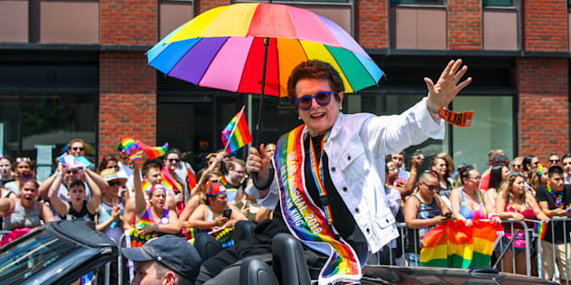 cBillie Jean King, Grand Marshal, waves to crowds at 2018 New York City Gay Pride Parade
