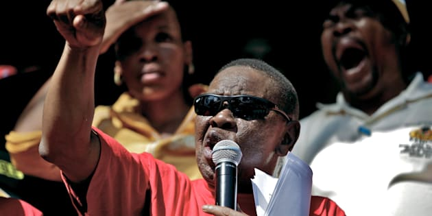 Dr Blade Nzimande of SACP addresses members of COSATU and other trade unions during a protest march on March 7, 2012 in Durban, South Africa.