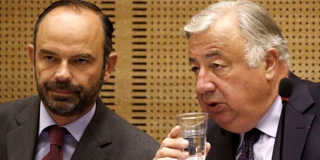 Le premier ministre Edouard Philippe et le président du Sénat Gérard Larcher lors de la première Conférences des territoires.