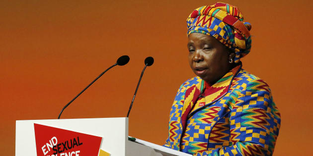 Chairperson of the African Union Commission Nkosazana Dlamini-Zuma speaks during a summit to end sexual violence in conflict at the Excel centre in London June 12, 2014.