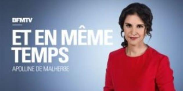 """Apolline de Malherbe présente """"Et en même temps"""" sur BFMTV le dimanche soir."""