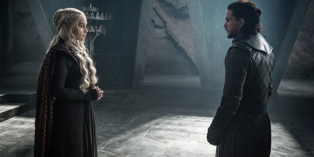 "Emilia Clarke as Daenerys Targaryen and Kit Harington as Jon Snow in a scene from HBO's ""Game of Thrones."" The final season premieres on Sunday."