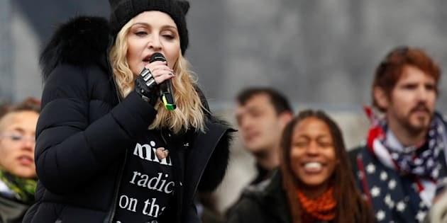 Madonna performs at the Women's March in Washington, D.C., Jan. 21, 2017. A clip of Madonna using the f-word after the march resulted in a complaint against Quebec radio station CKOI.