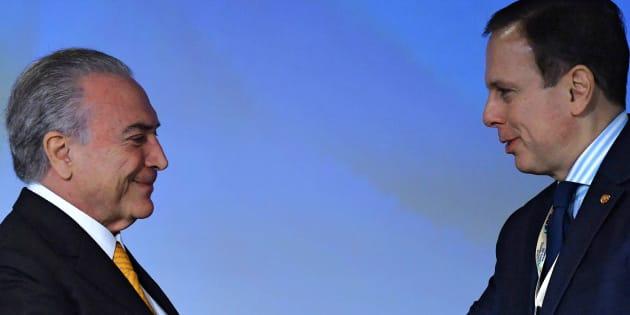 João Doria apoia a permanência de Michel Temer na presidência mesmo após sua acusação de corrupção passiva.