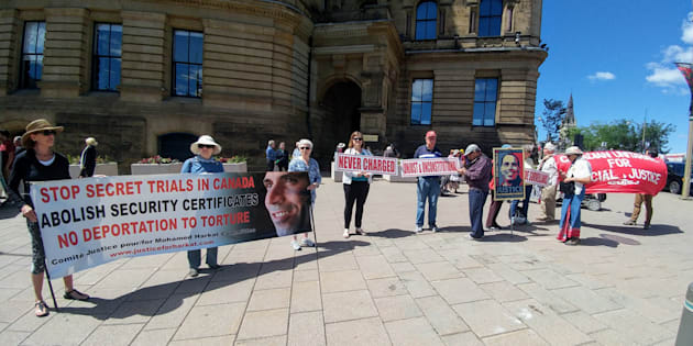 Rally to stop the deportation of Mohamed Harkat to torture held in Ottawa in July 2018.