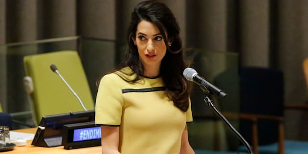 Amal Clooney Legal Representative for Nadia Murad and other Yazidi survivors, speaks at 'The Fight against Impunity for Atrocities: Bringing Da'esh to Justice' at the United Nations Headaquarters on March 9, 2017 in New York.  / AFP PHOTO / KENA BETANCUR        (Photo credit should read KENA BETANCUR/AFP/Getty Images)