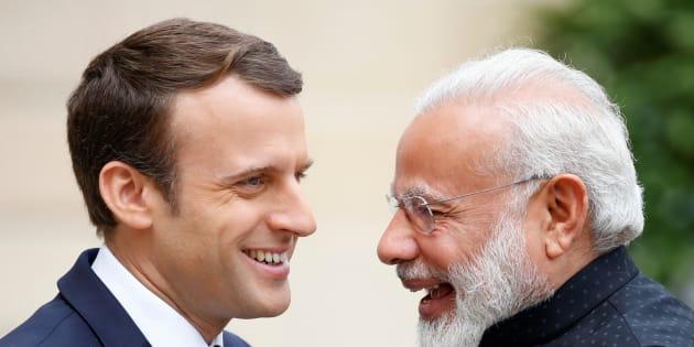 Emmanuel Macron et Narendra Modi à l'Elysée en juin 2017.