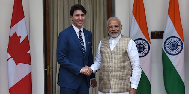 Prime Minister Justin Trudeau and Indian Prime Minister Narendra Modi shake hands before a meeting at Hyderabad house in New Delhi on Feb. 23, 2018.