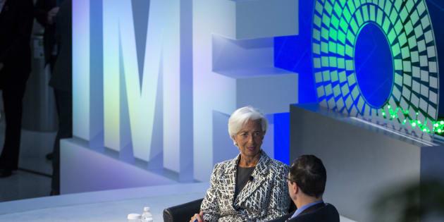Christine Lagarde avec le Secrétaire au Trésor des Etats-Unis Steven Mnuchin, le 22 avril 2017 à Washington.