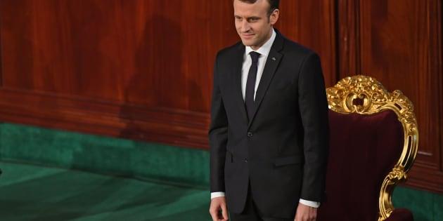Le Président Emmanuel Macron devant le Parlement tunisien, à Tunis, le 1er février 2018.