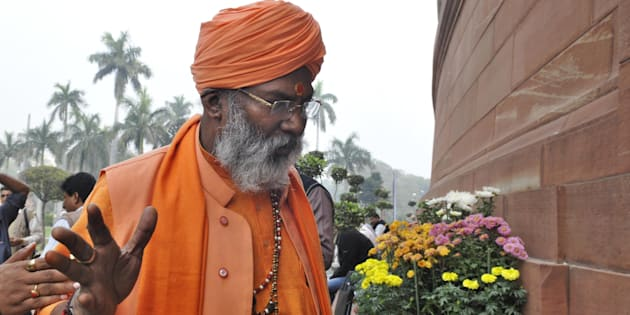 NEW DELHI, INDIA - DECEMBER 7: BJP MP Sakshi Maharaj during the winter session at Parliament on December 7, 2015 in New Delhi, India. The third week of the winter session of Parliament is likely to see the NDA government push for passage of key legislation including the GST Bill. (Photo by Mohd Zakir/Hindustan Times via Getty Images)