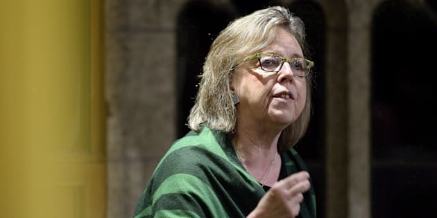 Green Party leader Elizabeth May speaks in the House of Commons on March 2, 2018.
