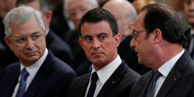 Claude Bartolone en compagnie de Manuel Valls et François Hollande aux obsèques de Michel Rocard au mois de juillet.