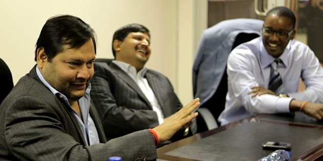 Indian businessmen Ajay and Atul Gupta, and Sahara director Duduzane Zuma speak to City Press from the New Age newspaper's offices in Midrand, Johannesburg, South Africa on March 4, 2011.