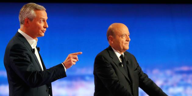 """Bruno Le Maire, ici lors du 1er débat de la primaire, a comparé Alain Juppé à un """"pape de transition"""" lors d'un meeting à Neuilly."""