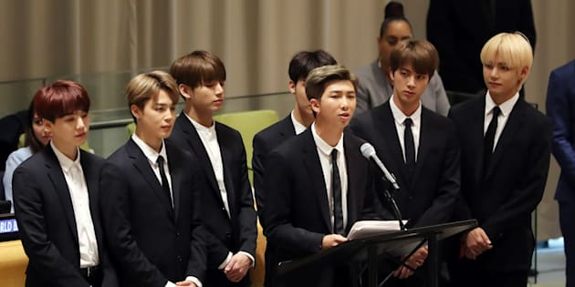 韓国の音楽グループ「BTS(防弾少年団)」(アメリカ・ニューヨークの国連本部)
