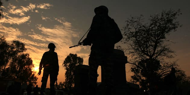 Soldiers patrol on the Jammu-Srinigar National Highway during a combing operation after Nagrota attack.
