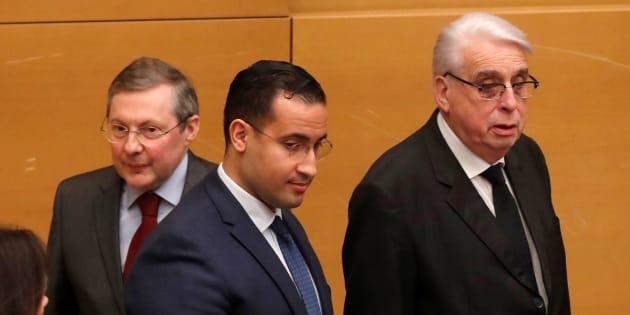 Alexandre Benalla, Jean-Pierre Sueur et Philippe Bas le 21 janvier 2019 au Sénat.