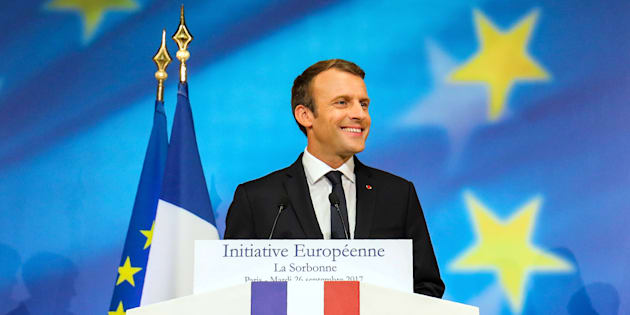 Le Président Emmanuel Macron lors de son discours sur l'Europe à la Sorbonne, à Paris, le 26 septembre 2017.