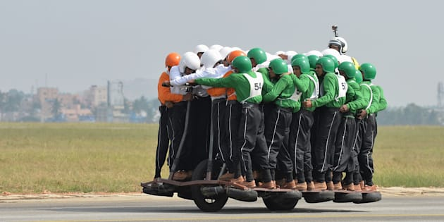 7b1d03fa768 MANJUNATH KIRAN via Getty Images. A motorcycle display team from the Indian  Army ...