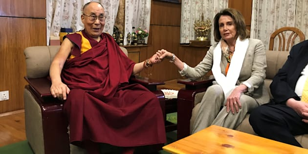 US House Minority Leader Nancy Pelosi meets Tibetan spiritual leader the Dalai Lama at his headquarters in Dharamsala, India 9 May 2017.