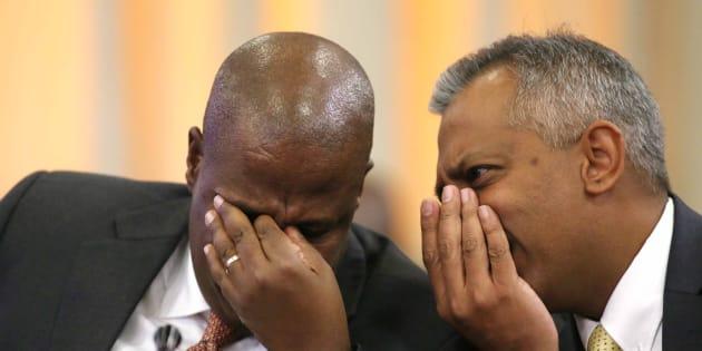 Former Eskom CEO Brian Molefe and suspended CFO Anoj Singh.
