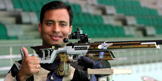 NEW DELHI, INDIA - FEBRUARY 23: Sanjeev Rajput after winning the 50m rifle 3 positions men's individual event at the Commonwealth Shooting Championship in New Delhi on February 23, 2010.