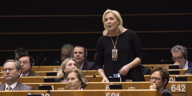 Marine Le Pen au Parlement européen le 25 février 2015.