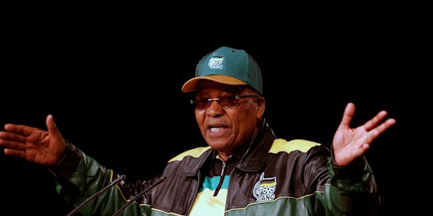 South Africa's President Jacob Zuma gestures during his opening address.