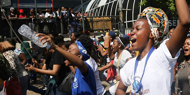Wits University students march in Braamfontein during the #FeesMustFall protest on September 21 2016 in Johannesburg, South Africa.