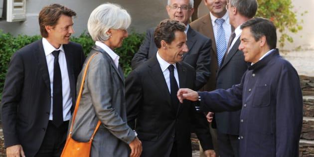 François Baroin, Christine Lagarde, Nicolas Sarkozy et François Fillon en 2010.