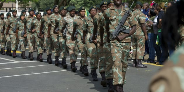 The SANDF during Nelson Mandela's procession to the Union Buildings on December 11, 2013 in  Pretoria.