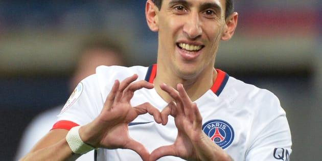 Le milieu offensif gauche Argentin Angel Di Maria célébrant un but contre Caen