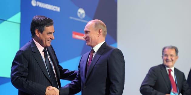 François Fillon et Vladimir Poutine en Russie en 2015.