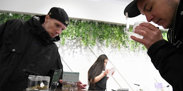 Customers at the Hunny Pot Cannabis Co. retail cannabis store in Toronto, April 1. Sales at legal cannabis stores are tepid, data from Health Canada shows.
