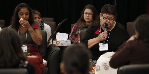 Family members speak at the opening day of Winnipeg hearings at the National Inquiry into Missing and Murdered Indigenous Women and Girls on Monday.