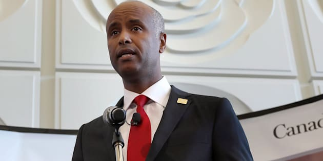 Immigration Minister Ahmed Hussen at Brampton, Ont.'s city hall on Oct. 4, 2017. He condemned an RCMP questionnaire which appeared to target Muslim asylum seekers on Friday.