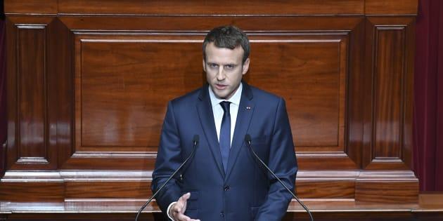 Emmanuel Macron devant le Congrès à Versailles, lundi 3 juillet.