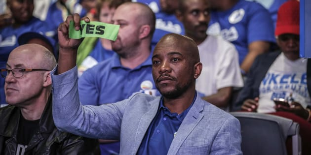 DA leader Mmusi Maimane votes during the policy decision session at the party's federal congress in Pretoria on April 8 2018.