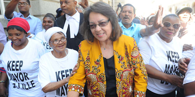 Patricia de Lille with some supporters before the case between Patricia de Lille and the Democratic Alliance (DA) at the Western Cape High Court on February 13, 2018 in Cape Town.