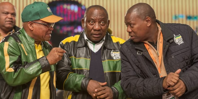 President Jacob Zuma with Cyril Ramaphosa and Zweli Mkhize, two of the candidates in the running for ANC president.